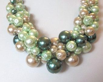 Pearl Cluster Necklace Set in Dark Green, Mint and Tan - Chunky, Choker, Bib, Necklace, Wedding, Bridal, Bridesmaid, SRAJD