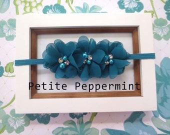 Baby headband, toddler headband, little girl headband - Turquoise Flower Headband