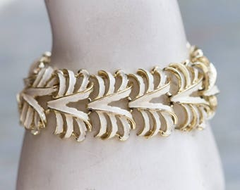 White Leaves Bracelet - Art Nouveau Links Wide Bracelet - Elegant Vintage Jewelry