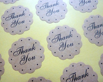 36 Brown Kraft Paper Round Scalloped 'Thank you' Stickers 3cm