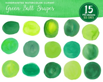 Green watercolor balls and ovals, watercolor clipart round shapes lime and green, graphic set PNG files, instant download
