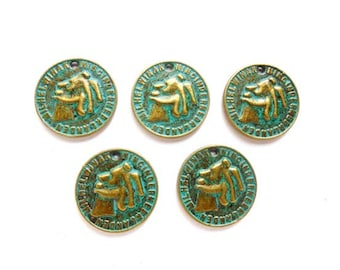 5 Patina Plated Brass Coin Charms - 21-40-4