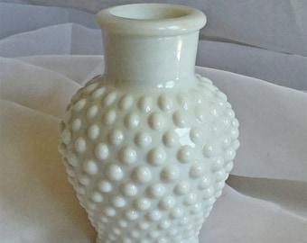 Vintage Hobnail Vase - Milk Glass