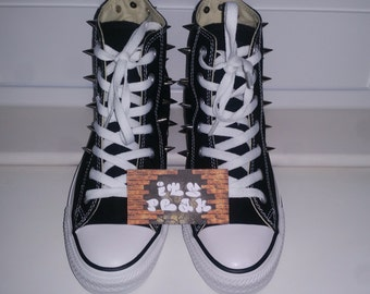 Black fully spiked converse with silver spikes