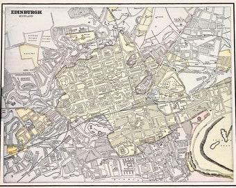 1896 Edinburgh Scotland Map Cricket Grounds Calton Hill Arthur's Seat BEAUTIFUL