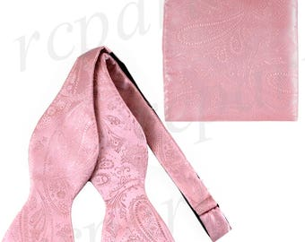 New Men's Paisley Pink Self-Tie Bowtie and Handkerchief, for Formal Occasions