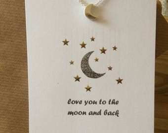 Silver Moon Charm Necklace - Love You to the Moon & Back