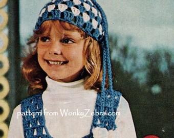 Vintage Crochet Skirt Over Top Beanie hat Patterns PDF B111 from WonkyZebra