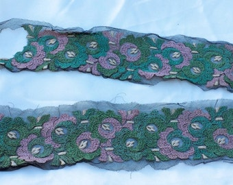 Beautiful length of Antique Handmade Embroidered Lace Pink & Green Flowers