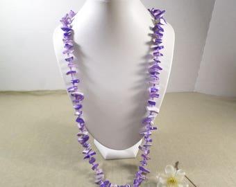 Vintage Single Strand Multi Color Purples Glass Stone Beaded Necklace, Fantastic!  DL# 4764