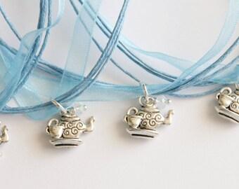 Tea Party Party Favor Necklace, Ribbon Necklace, Children's Jewelry, Princess Party, Princess Favors, Little Girl, Teapot Favors