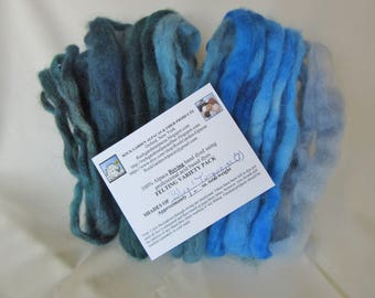 1.0 oz. Alpaca Roving - Hand Dyed - 7 Shades of Blue & Turquoise - Felting Variety Pack