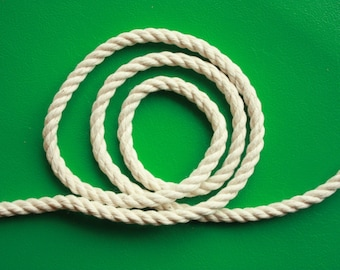 4 mm Cotton Rope = 10 Yards = 9.14 Meters of Natural and Elegant 100 % COTTON TWISTED CORD- Semi White- Offwhite- Raw White - not pure white