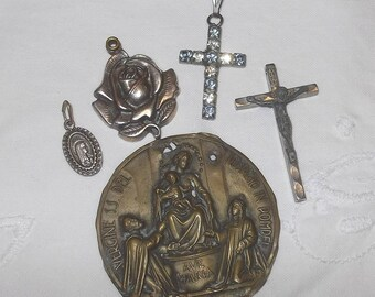 Lot of 5 Antique and Vintage Religious Items Crucifix Madonna of Pompeii Rose Cross Christian Catholic Italian Creative Projects Supplies