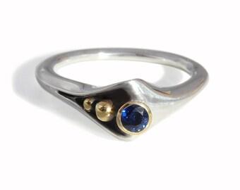 "Modern ""Folded"" Silver+18 karat Gold Ring, Blue Sapphire. Contemporary designer fine jewelry. Alternative engagement ring"