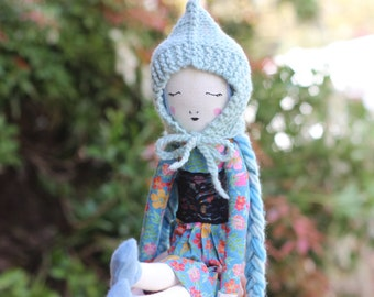 """Reserved - Handmade Cloth Doll Girl with Skirt, Shoes and Hand Knit Soft Wool Hat - 19.5"""" ish Tall"""