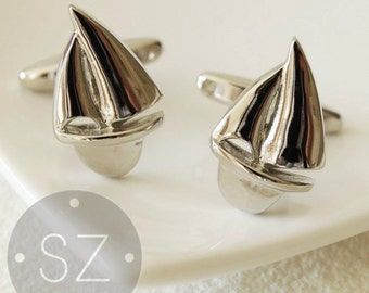 Solid, Silver Sail Boat Cufflinks - Wedding - Mens Gift - High Quality