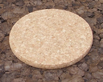 Round natural cork coasters for crafting - 6 pc.