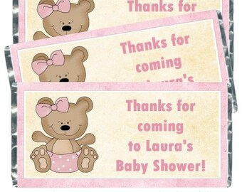 Teddy Bear Baby Shower Candy Wrappers - fit over 1.55 oz chocolate bars