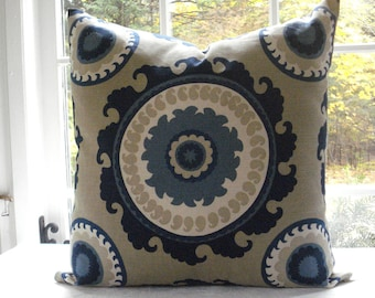 Decorative Designer Cover--Suzani--DURALEE--Ponderosa--Indigo Blue- Cream -Taupe-Throw / Lumbar
