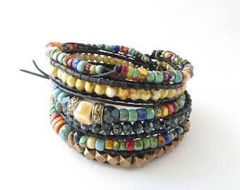 Boho Jewelry Bracelet for Women Beaded Leather Wrap Bracelet Bohemian Festival Jewelry Black Leather Bracelet Men Unisex Jewelry Best Seller