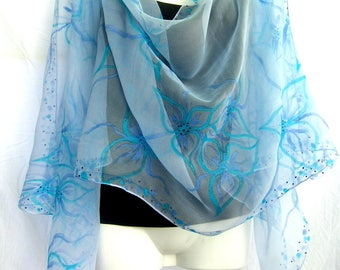 Hand Painted Silk Scarf, Light Turquoise Aqua Blue Powder Blue, Floral Silk Chiffon Scarf, Handpainted Silk Scarf, Gift For Her