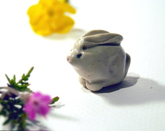 Bunny toys, Woodland creatures, fairy garden, miniature rabbit, mini Bunny sculptures, ceramic bunny, tiny toys, rabbits for fairy garden