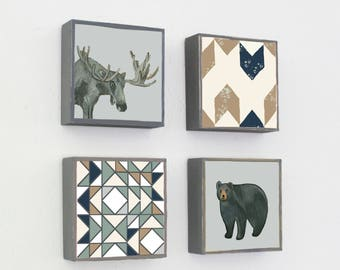 boho woodland nursery decor - woodland art for nursery - 4 set-5x5 art blocks- gender neutral baby- moose bear art-forest animals art