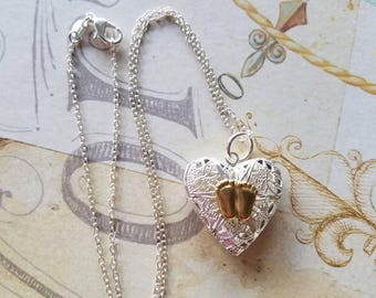 Hand Made Pro Life Jewelry, heart shaped filigree locket with Precious feet