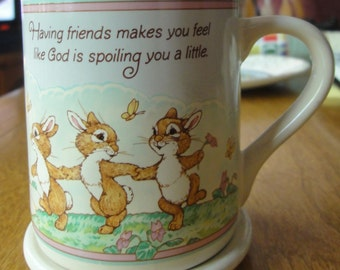 "Vintage 1986 Hallmark Mug Mates Mug ""Having Friends""With Matchin Coaster"