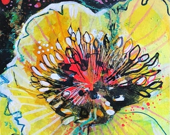 Yellow Peonies- Original mixed media painting by Maria Pace-Wynters