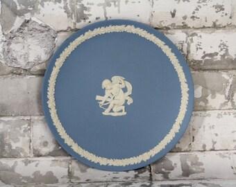 Wedgwood Blue Jasperware Plate - Cupid Stringing His Bow