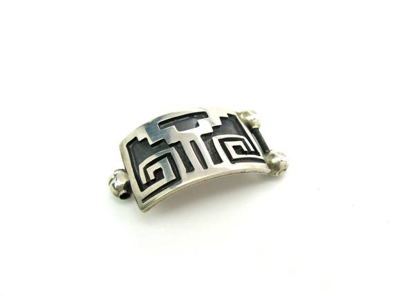 Vintage Aztec Mexican Bracelet Link Sterling Silver Overlay Black Oxidation Jewelry Supply Part
