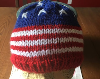 Stars and Stripes Patriotic hat, hand knitted march for truth