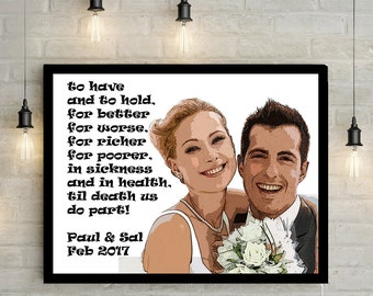 Custom Cartoon Wedding Couples Portrait - Anniversary Gift, Personalized Vows, Classic Comic/ Cartoon style Canvas Print or Printable