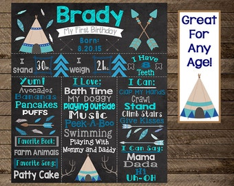 Boy's tribal first birthday chalkboard, teepee, aztec, wild one, camping birthday, boy first birthday chalkboard, second birthday, third