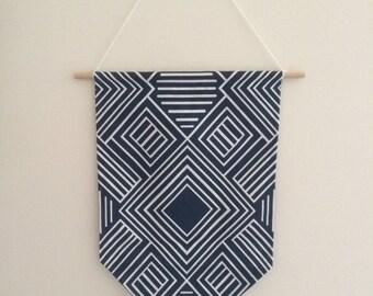 Blue & White Fabric Pendant Hanging