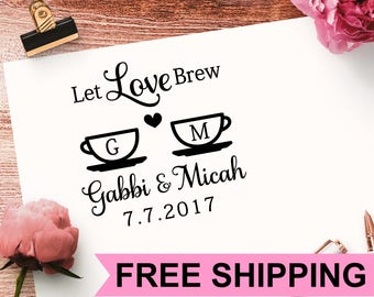 Coffee Cup Stamp, Monogram Stamp, Wedding Stamp, Save the Date Custom Stamp, Self Inking Stamp,  Let Love Brew