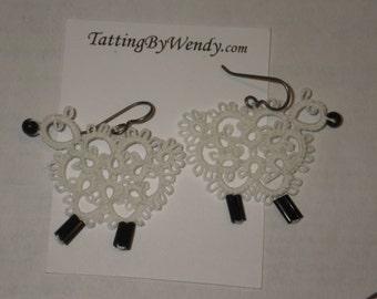 Tatted sheep earrings, original design, lambs tatting jewelry, lace earrings, farm animals, lightweight