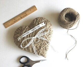 Jute Twine Heart Ring Bearer Pillow- medium size 6 inches- reuse as small wall hanging-wedding ring pillow,wedding ceremony, wedding decor