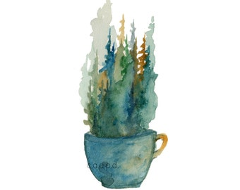 Pine Mug - 4  - Watercolor Art Print - pine trees, forest, coffee, mug, tea, nature, north woods