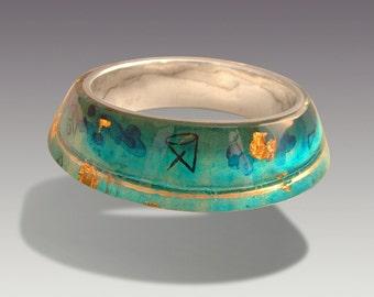 Celestial Lagoon  Bracelet.    Silver Art.