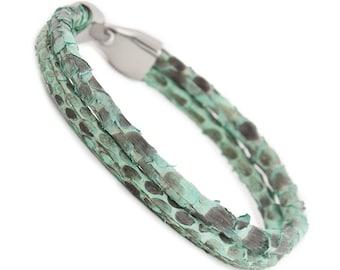 Python Skin Bracelet for Men, Snakeskin Bracelet, Men's Snake Skin Leather Bracelet, Leather Cord Bracelet