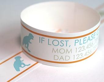 Custom Vinyl Dino ID Bracelets - Personalized ID Bands - #Kids #Travel #Safety