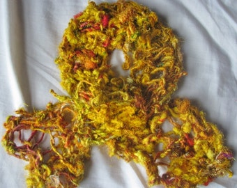 Saffron Yellow Recycled Sari Silk Short Scarf