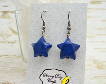 Midnight Blue Earrings, Indigo Earrings, Paper Bead Earrings, Lucky Star Earrings, Star Earrings, Celestial Earrings, Gift For Her,