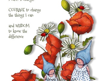 Printable Card, eCard, SERENITY Prayer with Fantasy Illustration of Gnome Children with Poppies, Daisies,  Original Art, Instant Download