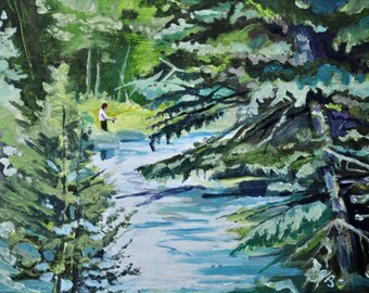 Jordan River    by Jim Page, Original Oil on wood panel, in black plein aire frame, 9x12