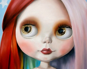 Blythe Doll art print  - Aurora the Inspiration - pastel hair