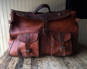 Vintage Leather Weekender Bag Luggage